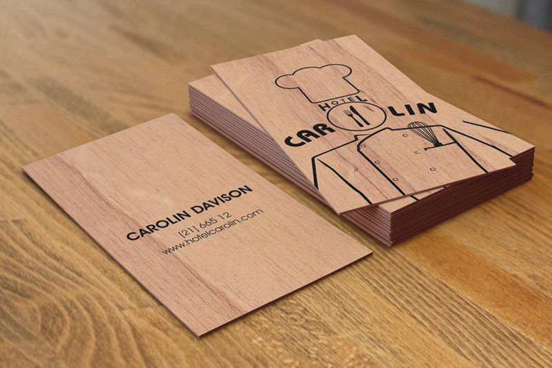 Display cards menus wooden products