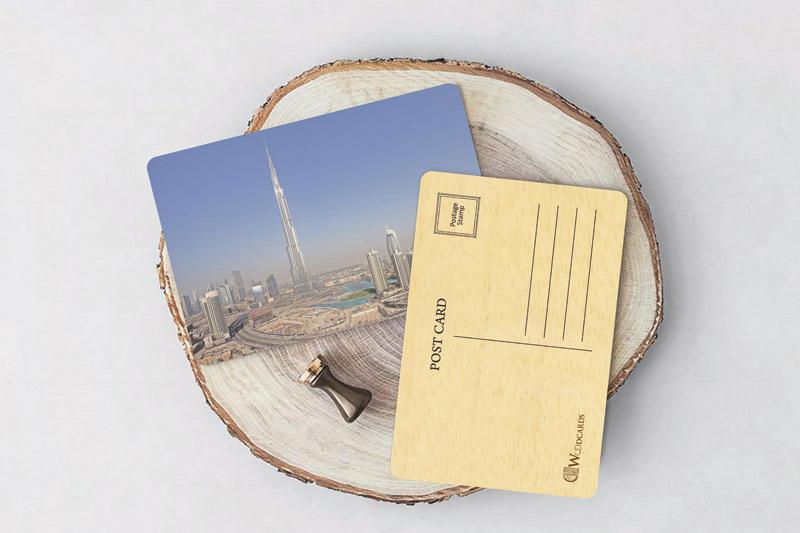 Wooden-Printed-Post cards Wood print cart dubai
