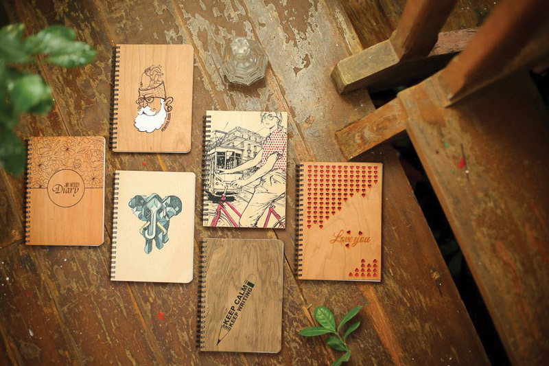 wooden note pad wood print cart dubai
